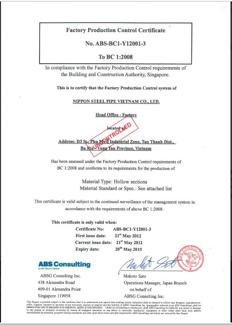 fpc certificate production steel singapore factory control nippon vietnam pipe awarded trị quản march